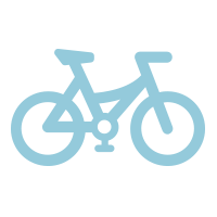 light blue icon of a bicycle