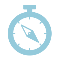 light blue icon of a compass