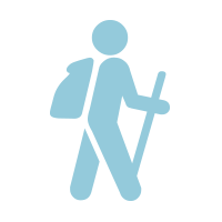 light blue icon of a hiking person