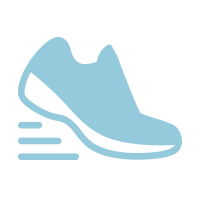 light blue icon of a tennis shoe