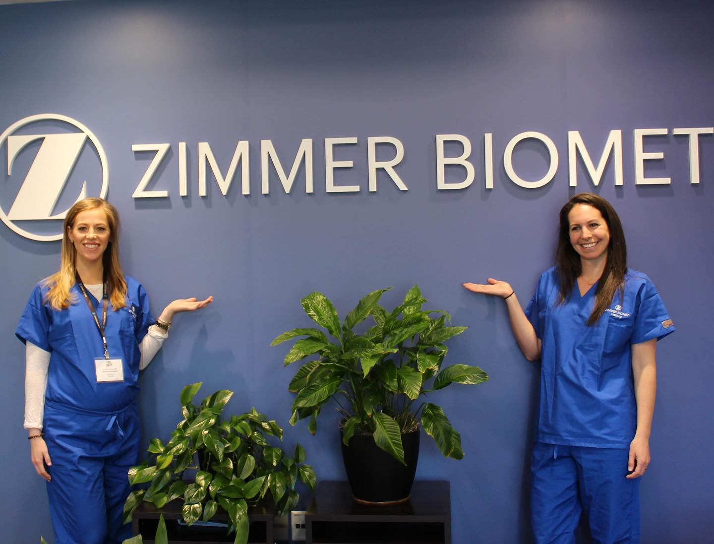 dr. hartman and Dr. Morrow visiting Zimmer biometrics