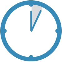 Blue clock showing a five minute time span.