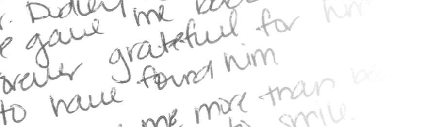A closeup of Jackie's handwriting