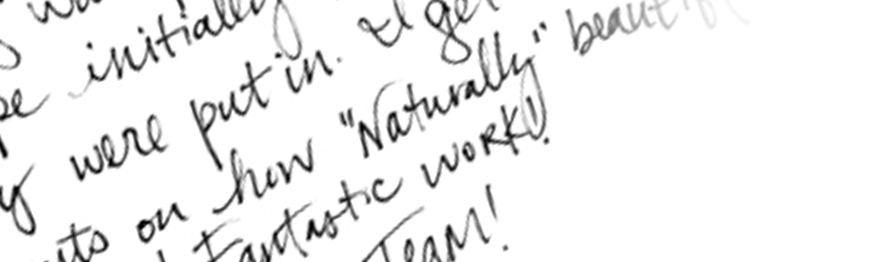 A close up of Leslie's handwriting!