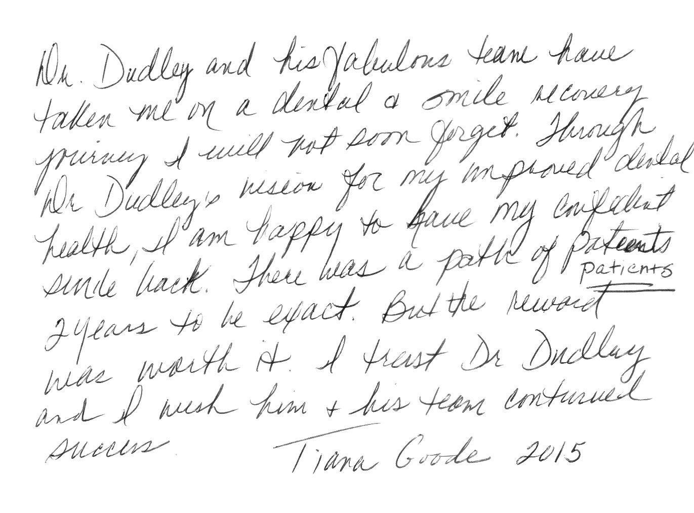 We appreciate the letter, Tiana!