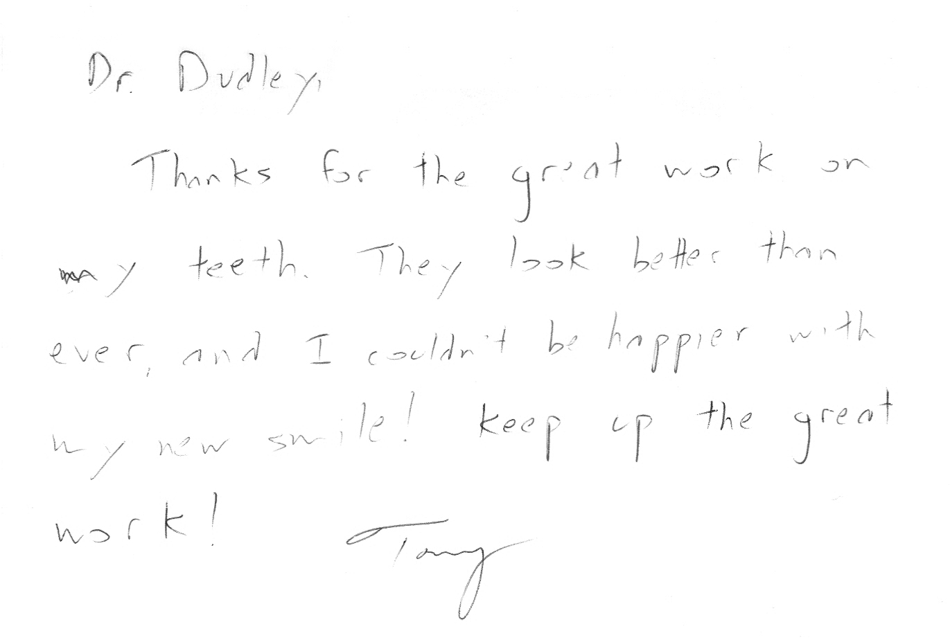 Thanks for the note, Tony!