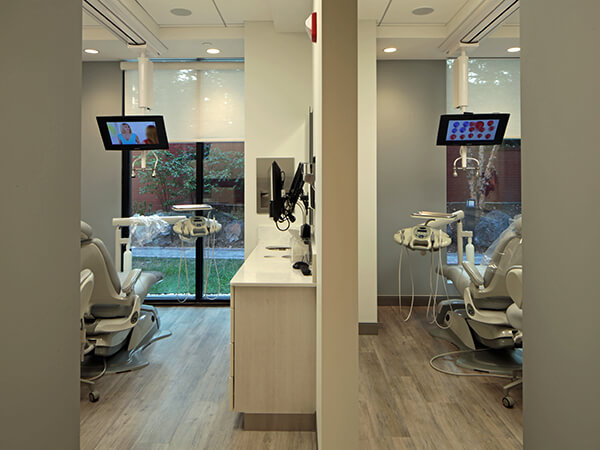 You can see outside into the courtyard from two of our dental suites