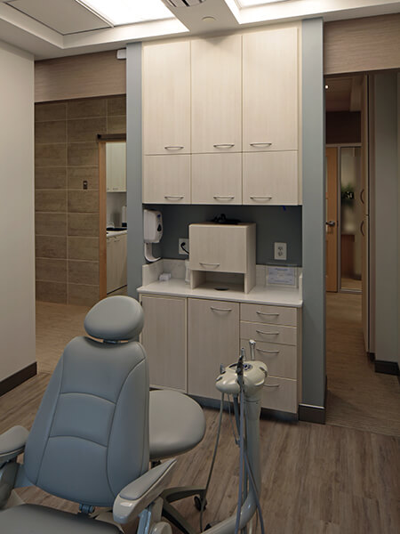 Our dental suites have plenty of cabinet space, modern equipment, and a comfortable chair