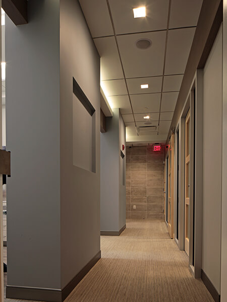 The hallway leading to our modern dental suites.